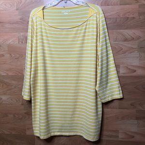 AVA & VIV 3X Yellow & White Stripe 3/4 Sleeves Top